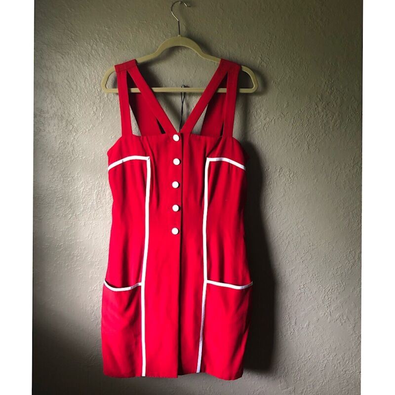 Vintage 80s Caché Red Romper With Original Handwritten Sales Tag Women's Size 12