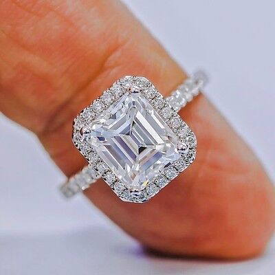 2.75 Ct Emerald Cut Diamond U-Setting Halo Engagement Ring F,VS1 GIA Platinum