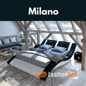 🛏 Full Italian Leather Bed King Queen White Black ACT Delivery