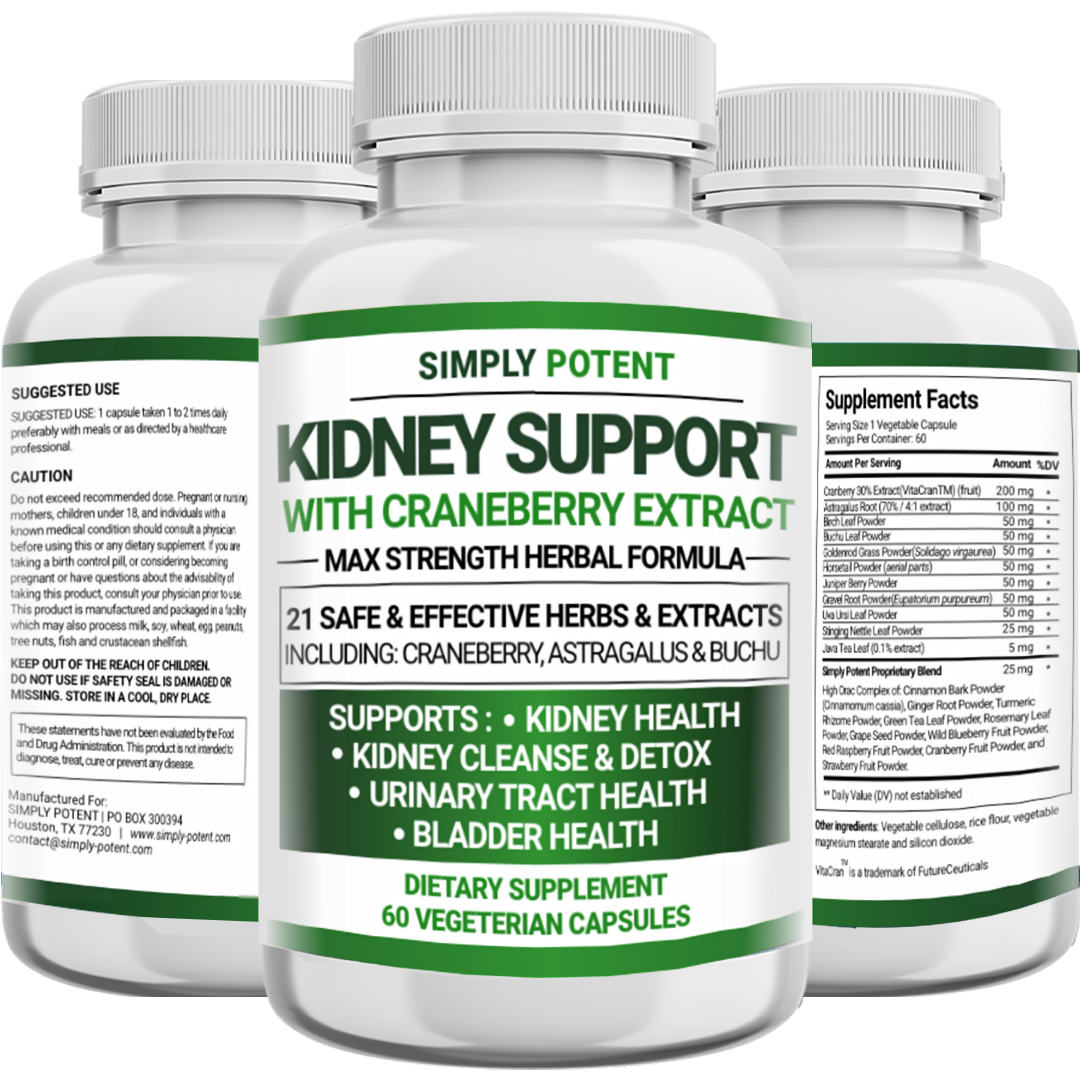 Kidney Support Restore Cleanse Detox Flush 705mg Capsule w Cranberry for UTI     1