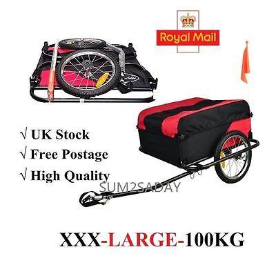 Lightweight Folding Black & Red Bike Cargo Dog Pet Bicycle Trailer carries 100Kg