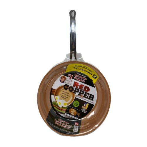Red Copper Ceramic NonStick Coat Fry Pan Eco Friendly 10 Inch Scratch Resistant