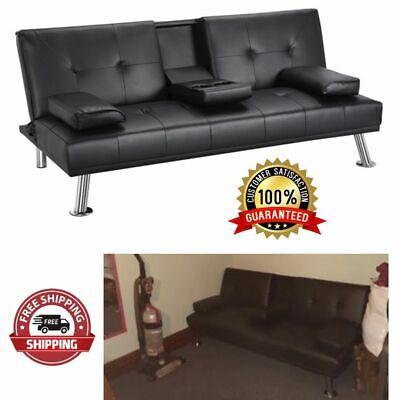 faux leather futon sofa bed fold up