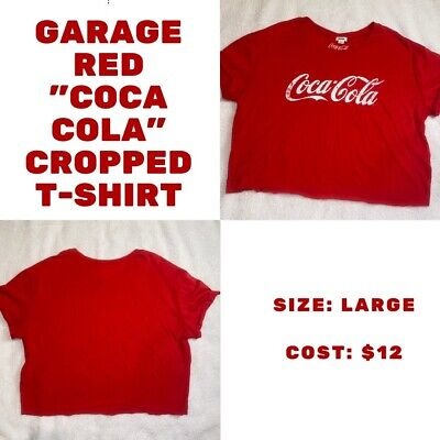 Garage Coca Cola Cropped Tee. Red. Size L