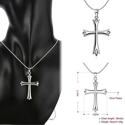 (New Women Fashion 925 Sterling Silver Plated Snake Chain Cross Pendant Necklace)