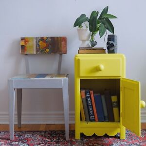 Yellow cabinet/night stand - $100 - free delivery