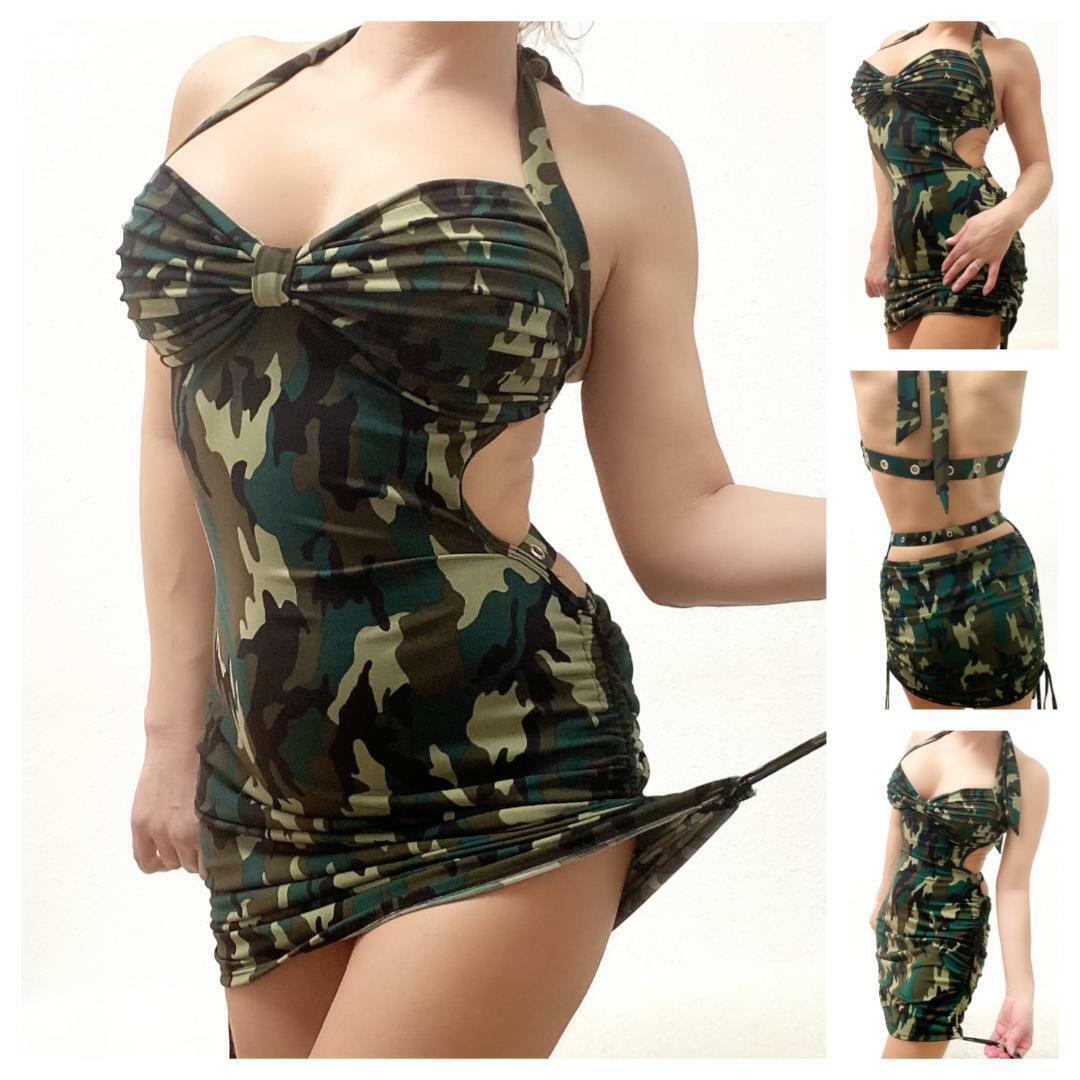 Midi - Mini Kleid rückenfrei Camouflage Army Dress ...