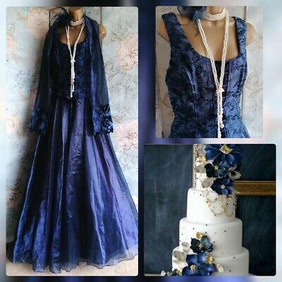 Yve London Blue prom evening victorian steam punk corset wedding dress scarf 18