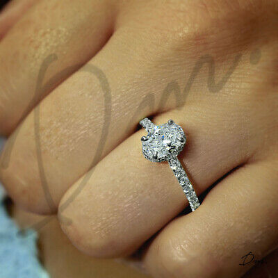 3.5 TCW Natural Oval Cut Pave Diamond Engagement Ring - GIA Certified
