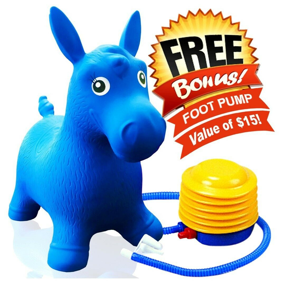 Kids Blue Horse Hopper, Inflatable Jumping Ride-on Bouncy