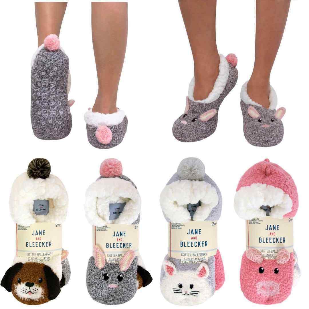 Jane & Bleecker Ladies/Kids Critter Slipper Socks 2 Pair, no