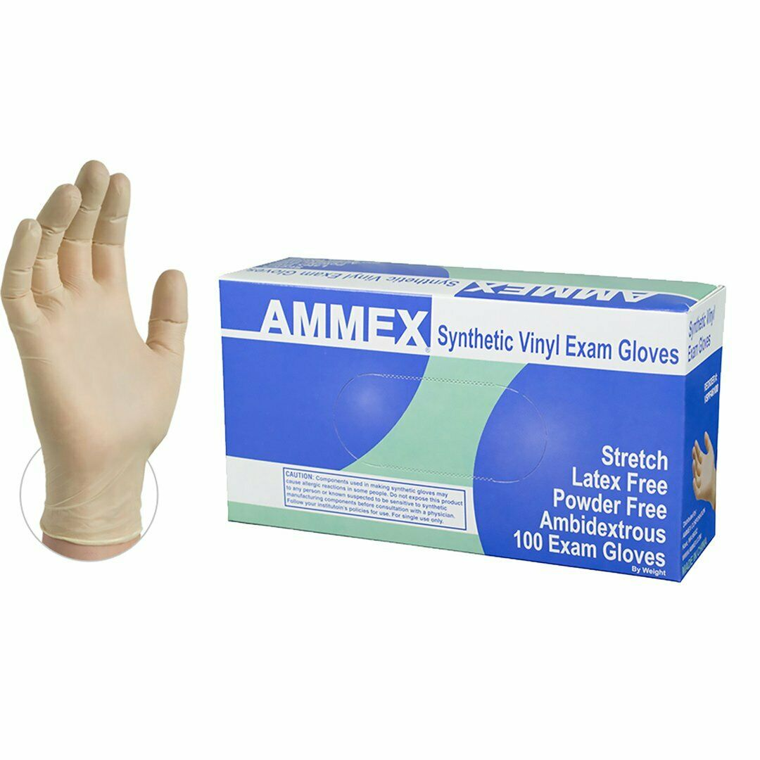 1000/cs AMMEX IVSPF Disposable Gloves Medical Vinyl Powder F