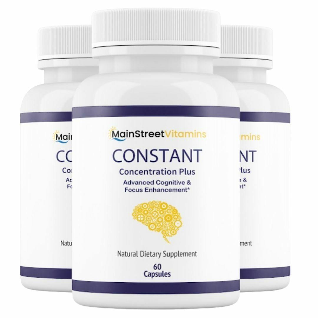 3 Bottles Constant Concentration Plus, Advanced IQ  60 Capsules x 3