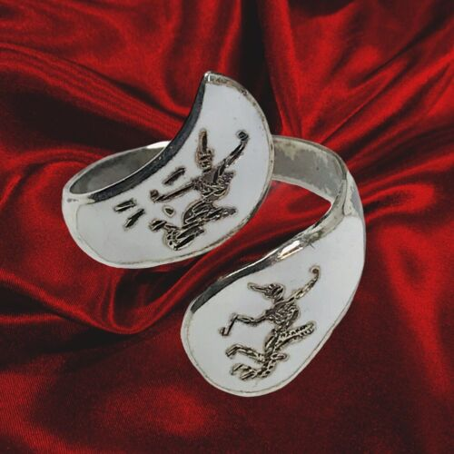 VTG Sterling Silver SIAM NIELLOWARE White Enamel Mekkala Bypass Ring Adjustable - $24.00