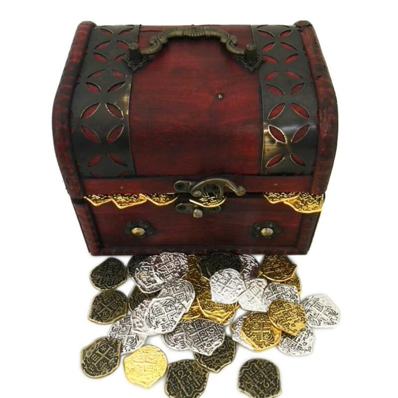 Lot of 100 Toy Metal Pirate Mixed Coins with Treasure Chest