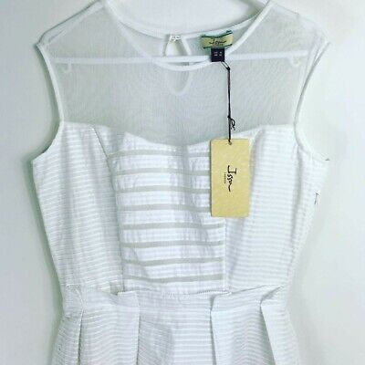 White dress by ISSA. BNWT. Sleeveless, cotton, fitted bodice size UK10. RRP £450
