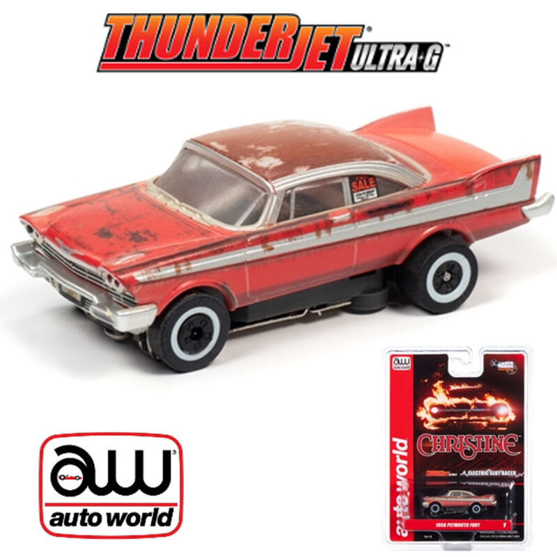 Auto World Thunderjet 1958 Plymouth Fury Christine For Sale/Dirty HO Slot Car