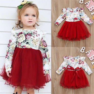 Toddler Baby Girl Floral Long Sleeve Tulle Tutu Princess Dress Outfits Clothes ()
