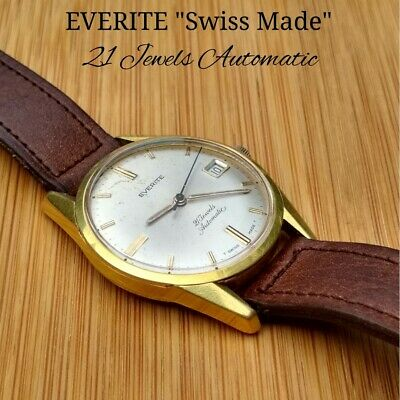 EVERITE Vintage Swiss Made Automatic Mechanical Wrist Watch 21Jewels Gold Plated