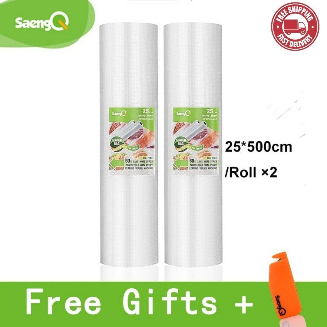 2 SaengQ Vacuum Sealer Rolls Food Fresh Long Saver Bag Pack