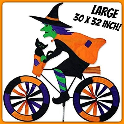 WITCH ON BICYCLE WIND SPINNER HALLOWEEN GARDEN SPINNER PREMIER KITES FREE SHIP