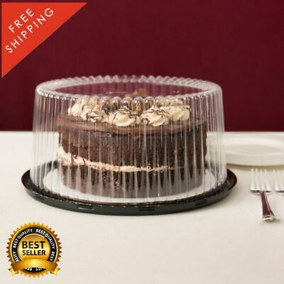 9 2-3 Layer Disposable Cake Display Container With Clear Dome Lid 80 Case