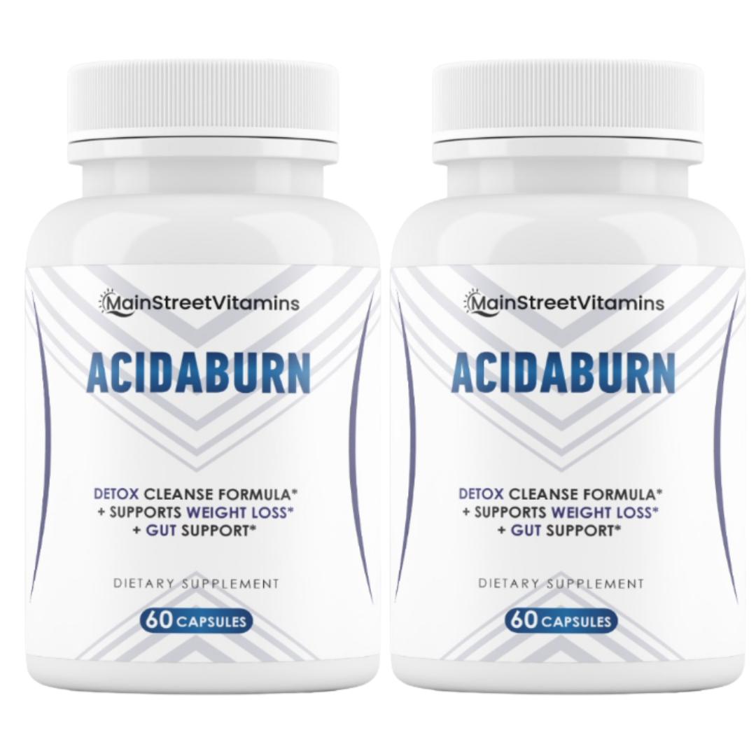 2 Bottles AcidaBurn Detox Cleanse, Weight Loss & Gut Health 60 capsules