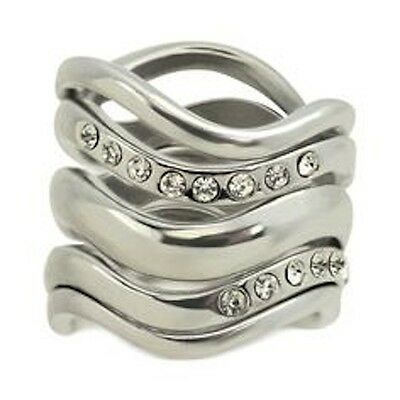 Guess Silver Bands (NWT Guess Silver Metal-Clear Rhinestones-Stackable Wavy Bands, Size 7, Set/5 )
