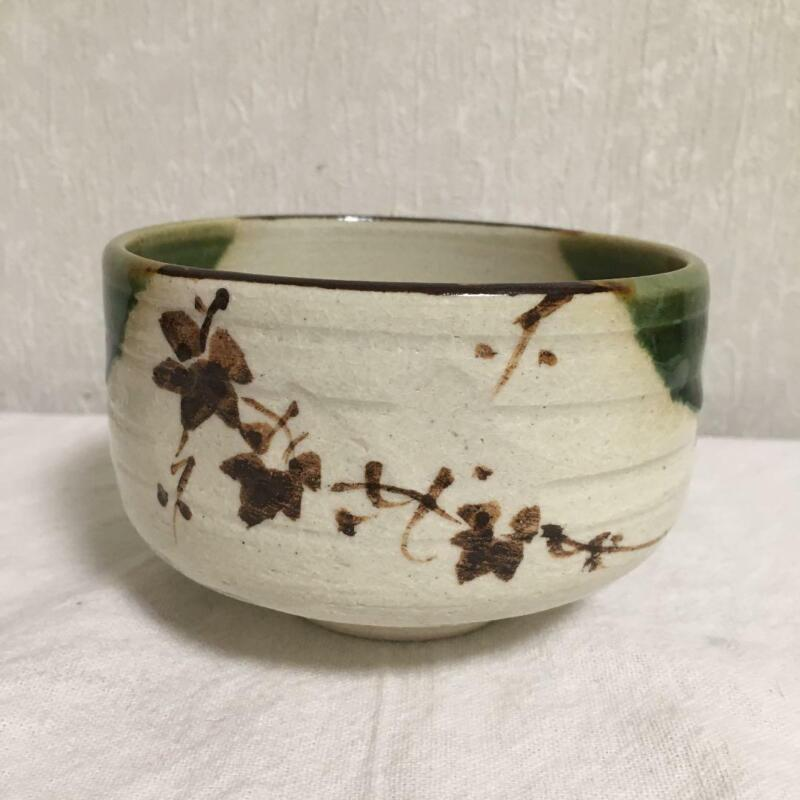 "ORIBE Ware Tea Bowl / Tea Ceremony, SADO Japanese Pottery / Chawan 3.2"" tall"