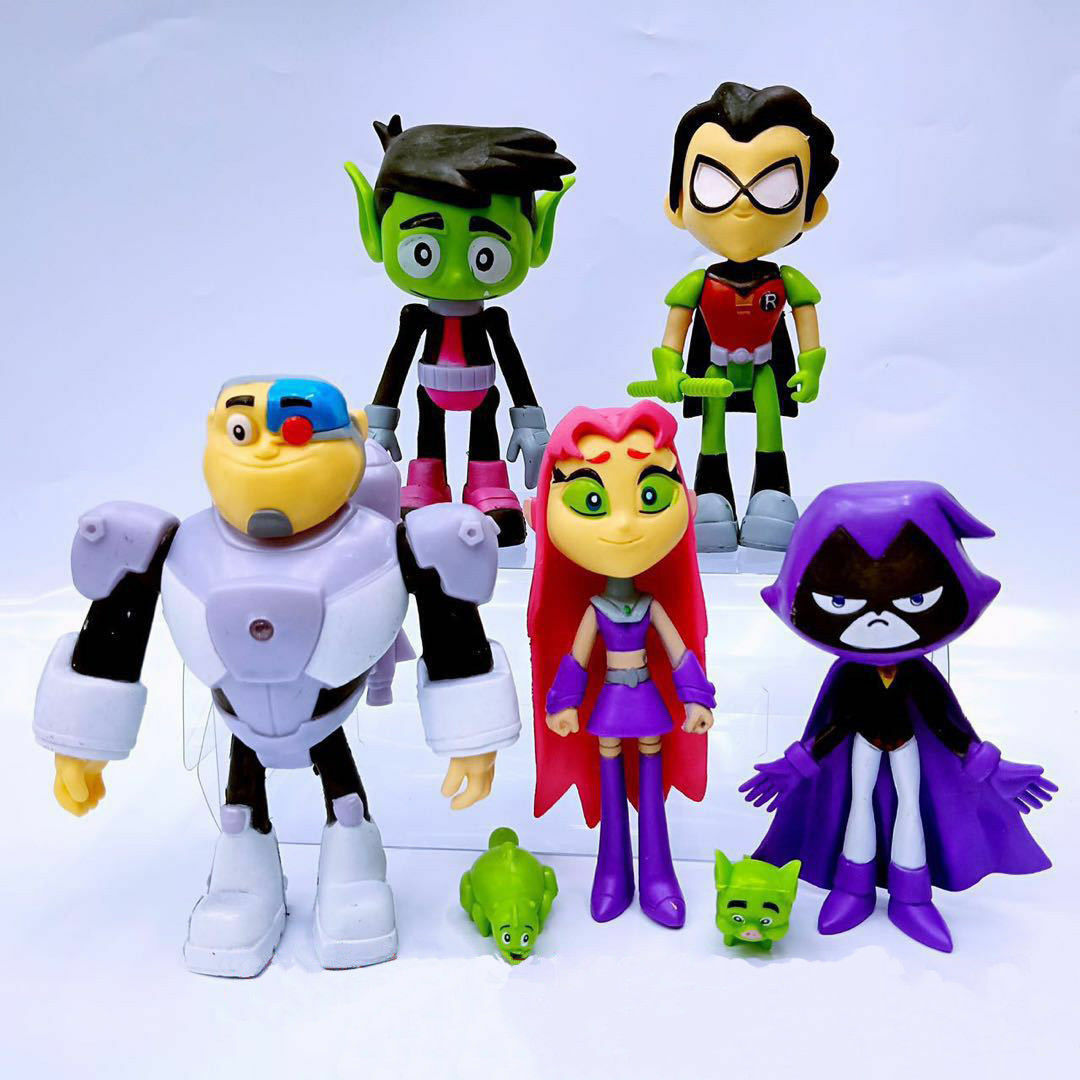 7Pcs Teen Titans Go To The Movies Robin Cyborg Beast Boy -4333