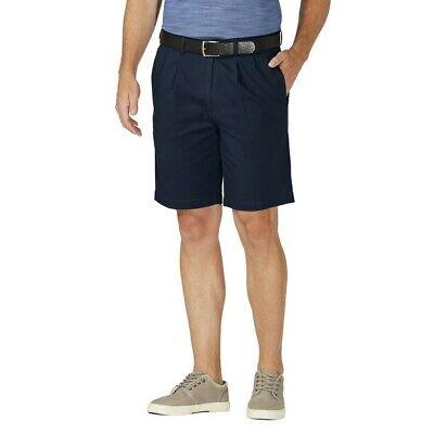 "Haggar HS00441 Comfort Cotton Expandable Waistband 9.5"" Inseam Navy Shorts"