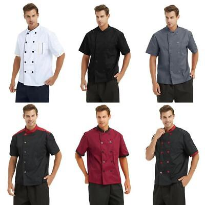 Toptie Unisex Short Sleeve Chef Coat Jacket Men Women Kitchen Work Cook Uniform
