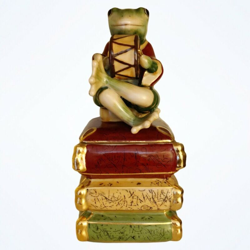 """Vintage Look Frog Playing Drum Porcelain 10""""Trinket Box"""