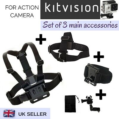 Set of 3 Chest Head Wrist Strap for Kitvision Escape 4KW HD5W HD5 Action Cam