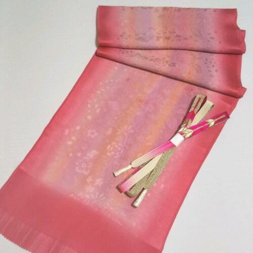 OBIJIME & OBIAGE Set Silk Pink Purple Flower Japanese Kimono Houmongi Tsumugi