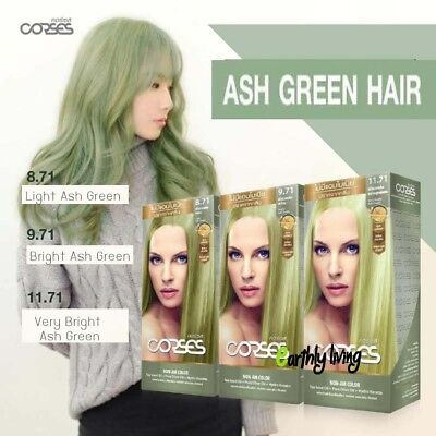 - Light Bright Ash Green Color Permanent Hair Dye Cream No Ammonia No Damage
