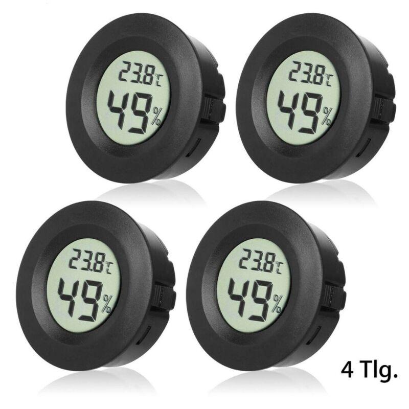 4Pcs LCD Mini Round Thermometer Digital Hygrometer Temperatu