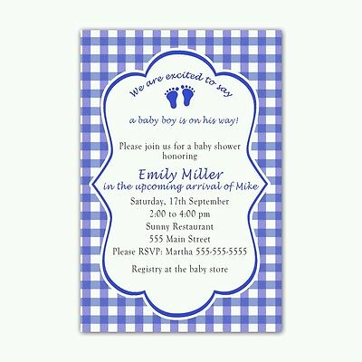 30 invitations boy baby shower feet personalized royal blue gingham](Royal Blue Baby Shower Invitations)