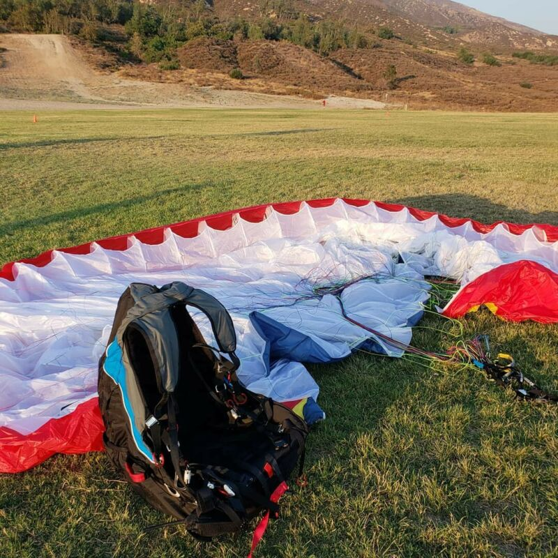 Ozone Mojo Pwr paraglider and Oxygen 2 Harness