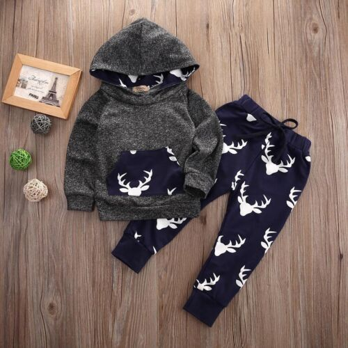 USA Toddler Baby Boy Deer Hoodie Cotton Tops Long Pants Clothes 2Pcs Outfits Set