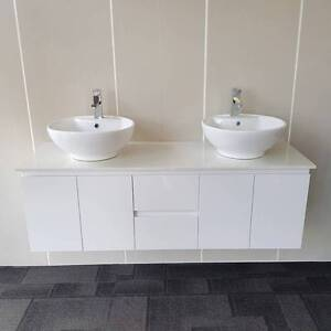 SALE! Bathroom Vanity Unit White Wall Hung with Basins 1500mm Underwood Logan Area Preview
