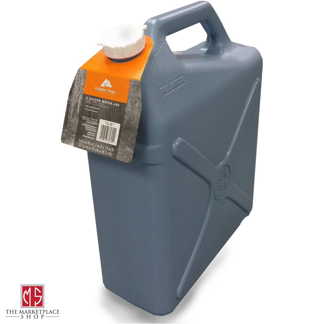 6 Gallon Water Carrier Jug, Jerry Can Style Plastic Containe