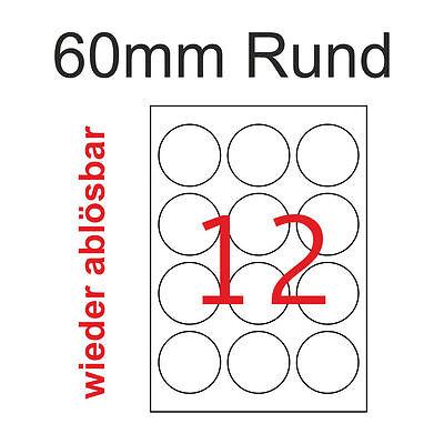 10 A4 60 mm Rund Premium Etiketten Wieder Ablösbar 120 Weiße Aufkleber Non Perma
