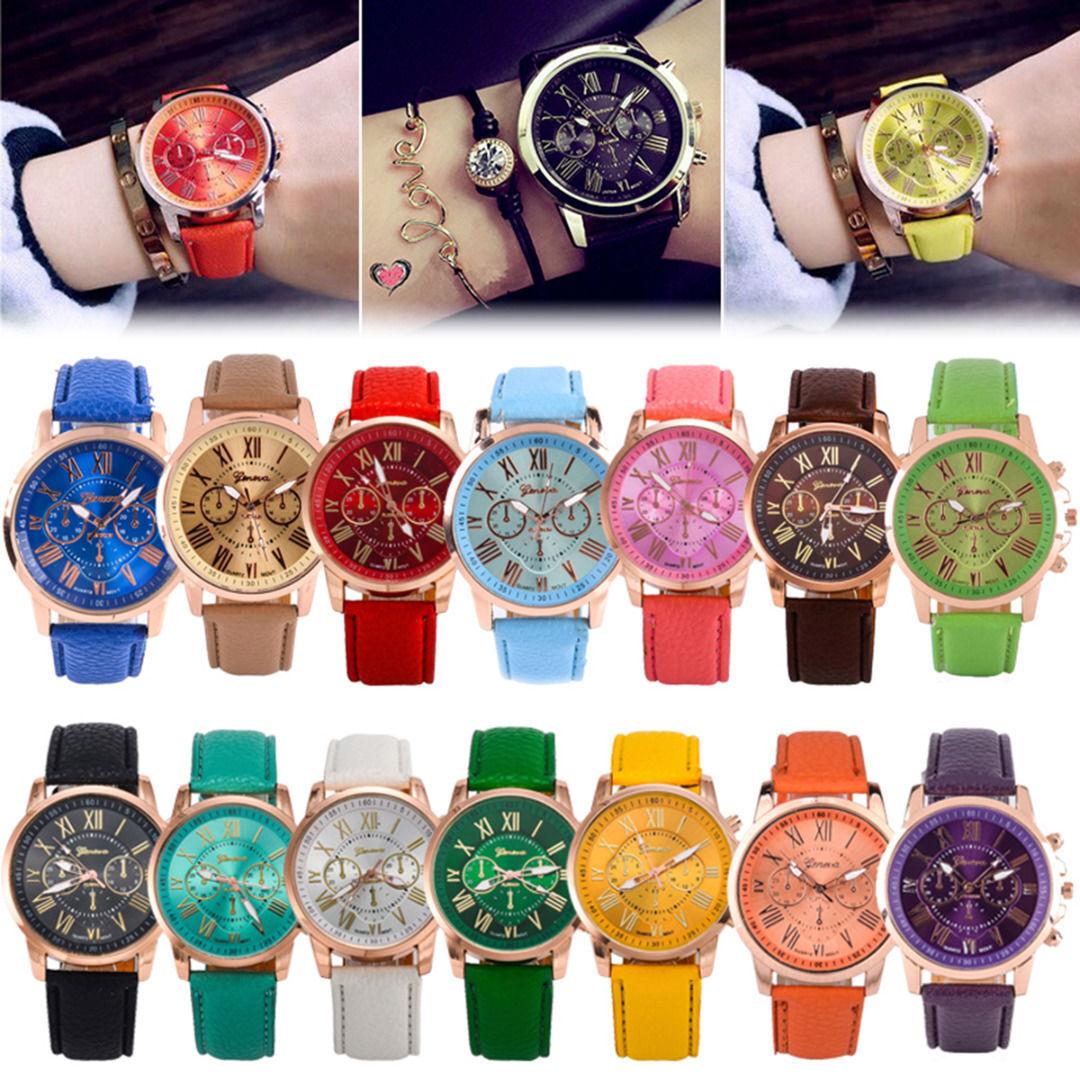 Fashion New Geneva Womens Leather Band Stainless Steel Quartz Analog Wrist Watch
