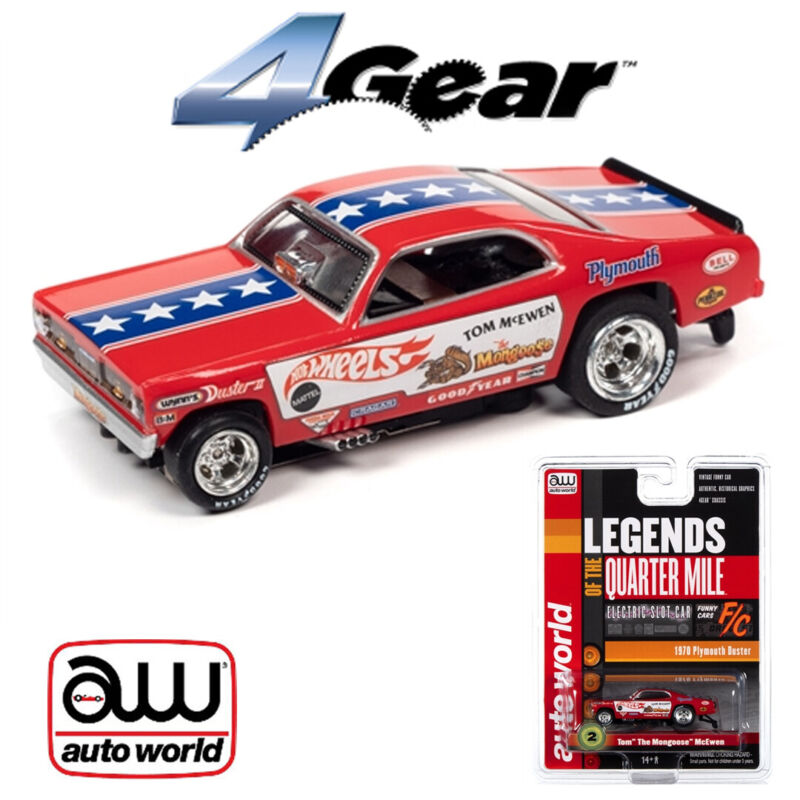 Auto World 4Gear R25 Tom The Mongoose McEwen 1970 Plymouth Duster FC HO Slot Car