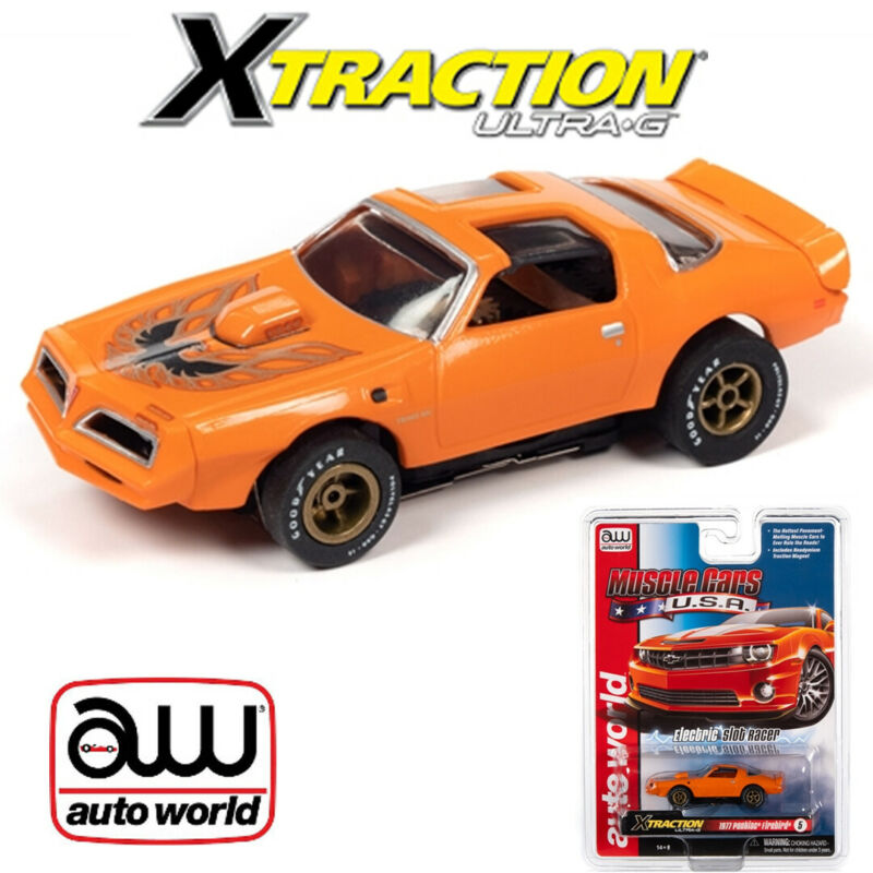 Auto World Xtraction R30 1977 Pontiac Firebird Orange HO Scale Slot Car