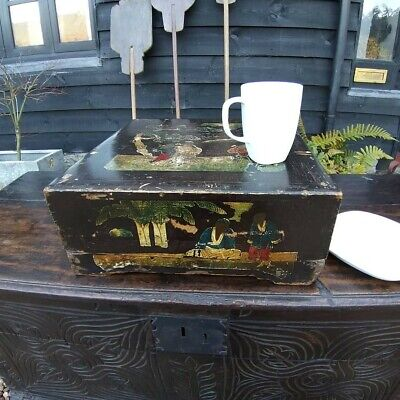 19th Century Wooden Tea Box Large Chinoiserie Box Table Box Chinoiserie-box