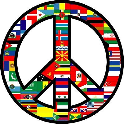 WORLD PEACE SIGN SYMBOL BUMPER STICKER HELMET STICKER LAPTOP STICKER WINDOW