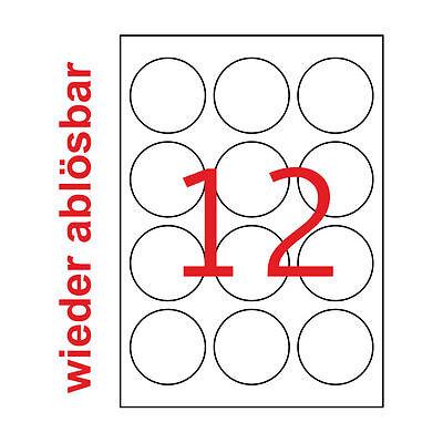60 mm Rund Ablösbare Weiße Aufkleber Non Permanent 10 A4 120 Etiketten