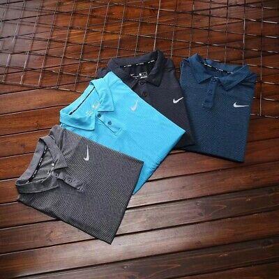 New Nike Golf Dry Embossed Stripe Polo Shirt Selection P1032 Black Grey Navy Sky